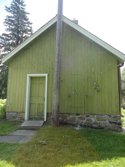 For all of you wanting to see the back of the Cornell-Campbell farm... here it is!  Great old door, and smoky olive paint.