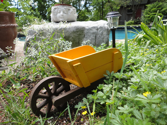There we go, a wee little wheelbarrow sets the tone for this miniature garden world.  Land of the Giants!