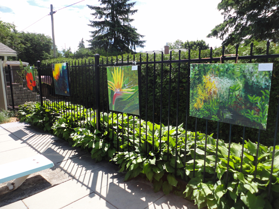 Outdoor gallery spaces in the gardens -sprung up along fence lines in this garden.