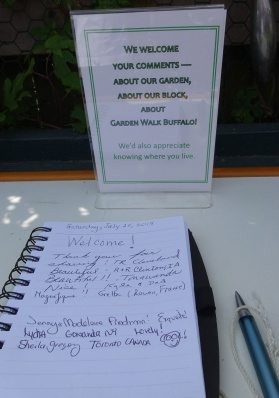 Visitors book found in a backyard garden. A couple from Rouen, France were here first!