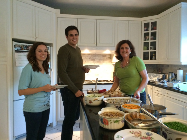 Megan, John and Viv with all that wonderful food
